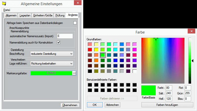 Allgemeine Einstellungen für Markierungsfarbe