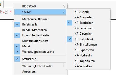 Werkzeugkästen in BricsCAD aktivieren