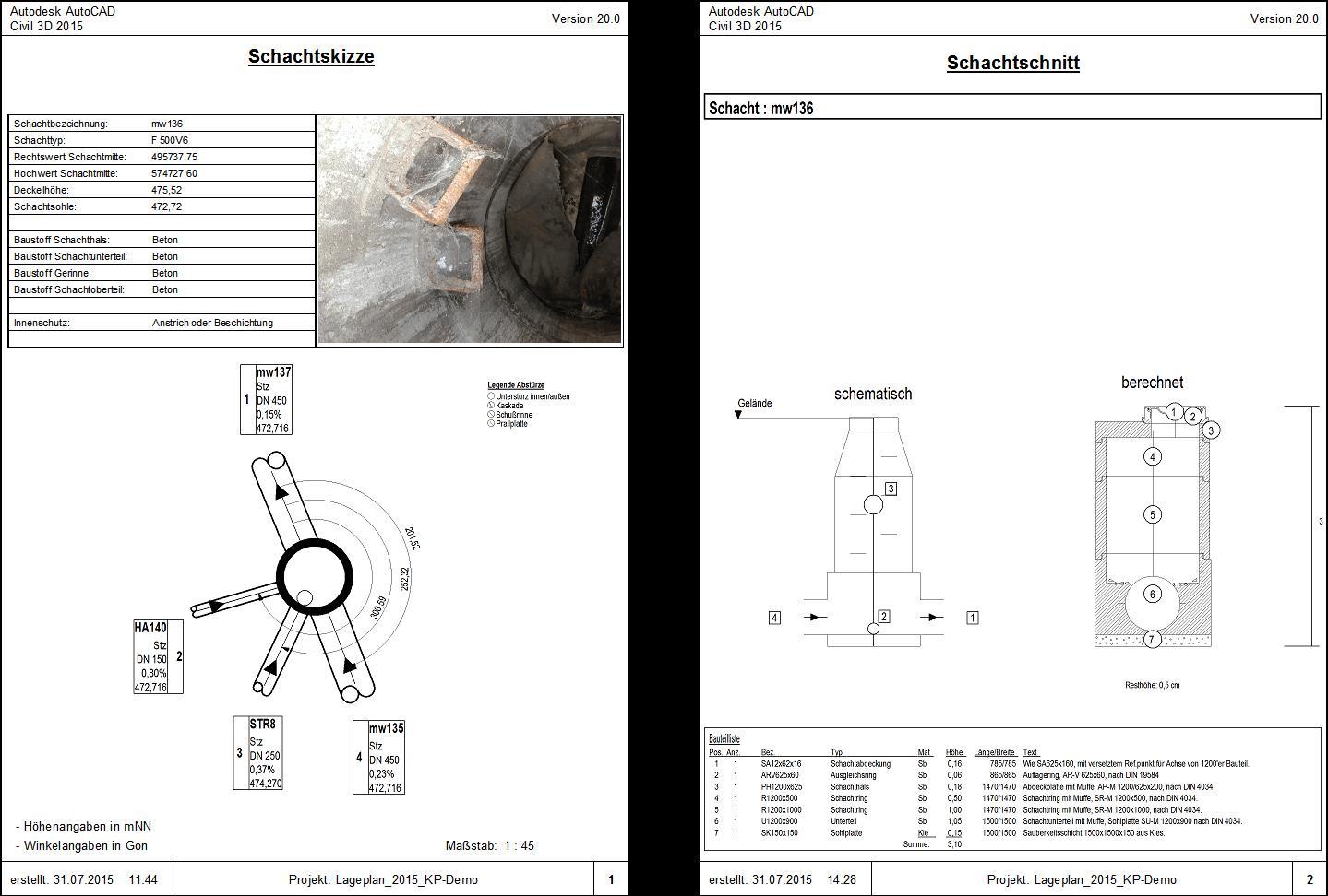 Das zweiseitige Schachtmessblatt mit Schachtuhr und -schnitt
