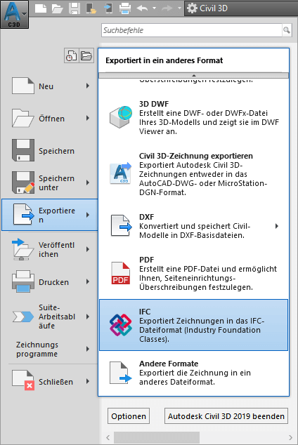Screenshot IFC Export mit Autodesk AutoCAD Civil 3D