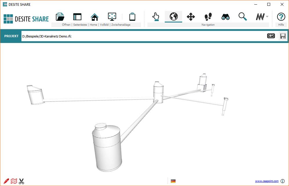 Screenshot Geöffnete IFC-Datei im kostenlosen DESITE SHARE 3D-Bauwerksmodell-Viewer