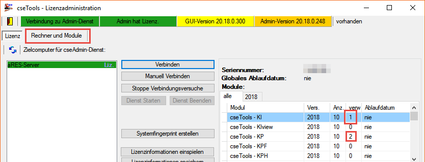 Screenshot cseTools Lizenzadministration