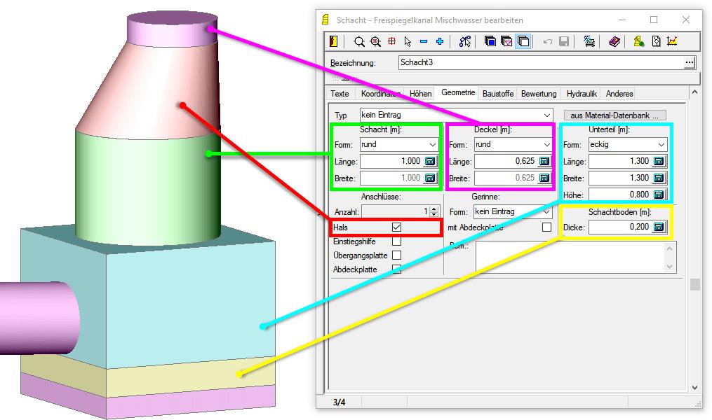 Screenshot Zuordnung Geometrieangaben zu 3D-Volumenkörper