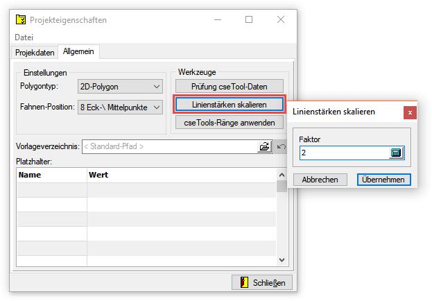 Screenshot Projekteigenschaften mit Werkzeug 'Linienstärken skalieren'