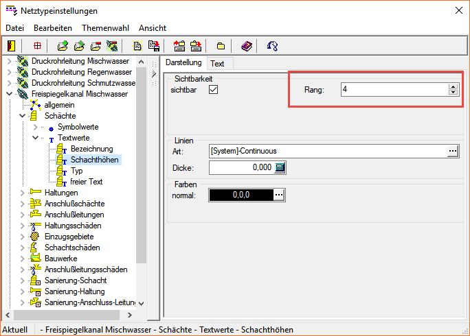 Screenshot Netztypeinstellungen mit Rängen