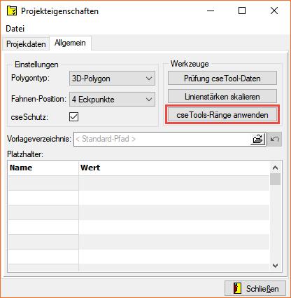 Screenshot Projekteigenschaften mit Werkzeug 'cseTools-Ränge anwenden'