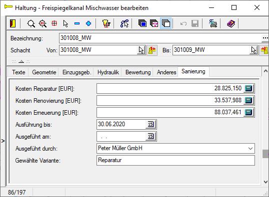 Screenshot Datenbankdialog Haltung mit erweiterter Datenstruktur