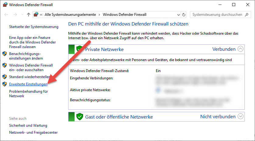 Screenshot Einstellungen Windows Defender Firewall