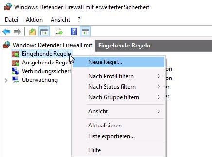 Screenshot neue eingehende Firewallregel