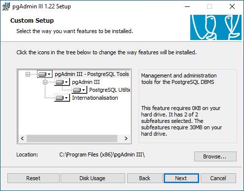 Screenshot Setup pgAdmin III Installationsverzeichnis