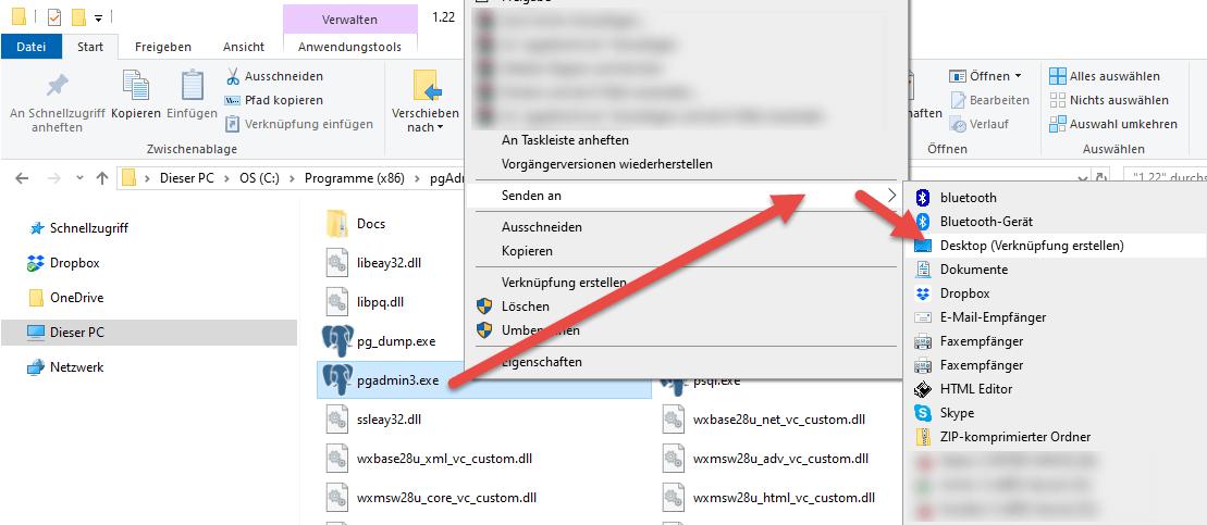 Screenshot pgAdmin III Desktopverknüpfung anlegen