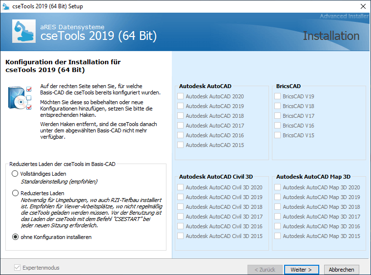 Screenshot cseTools Installation ohne Standardkonfiguration
