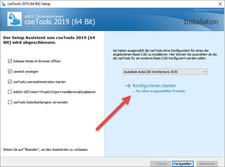 Screenshot Konfiguration der cseTools für Auswahl starten