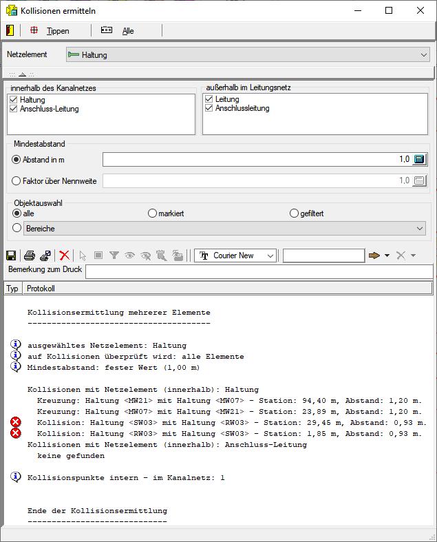 Screenshot Kollisionsberechnung bzw. Kollisionsermittlung für Kanal und Leitungsnetze