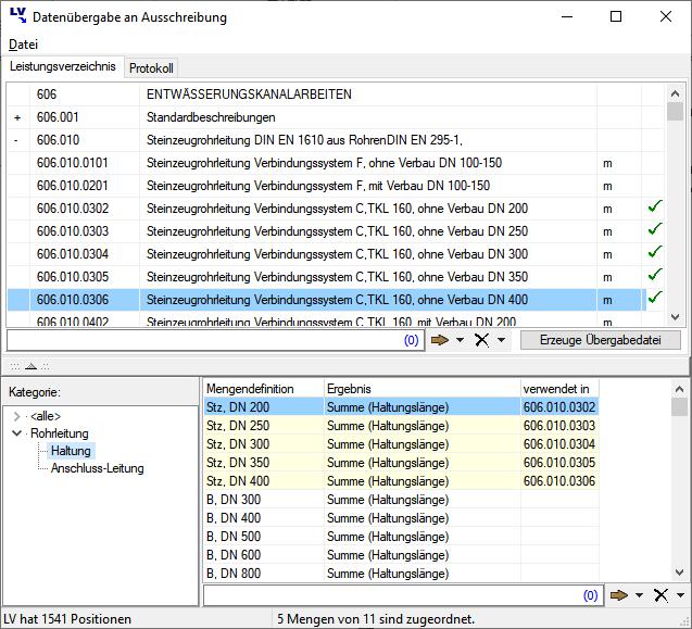 Screenshot Zuordnung von Mengen zu LV-Positionen
