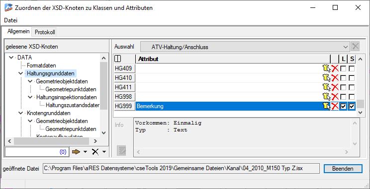 Screenshot Zuordnung für DWA-M 150 Typ Z original
