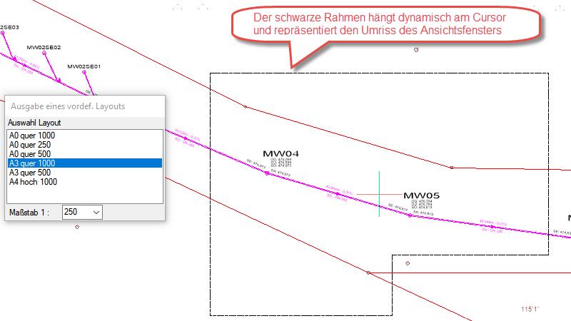 Screenshot Umriss Layout-Ansichtsfenster im Modellbereich