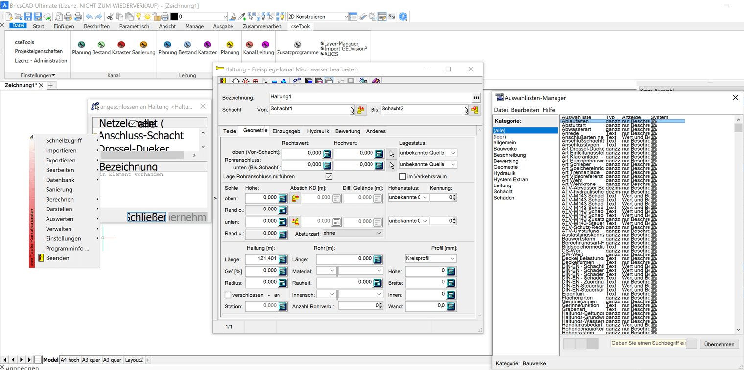Screenshot BricsCAD und cseTools
