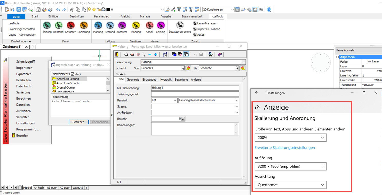 Screenshot BricsCAD und cseTools optimiert