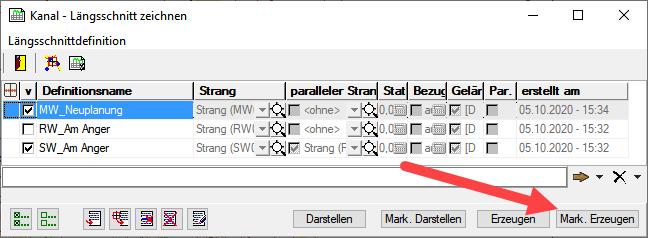 Screenshot Längsschnitte erzeugen