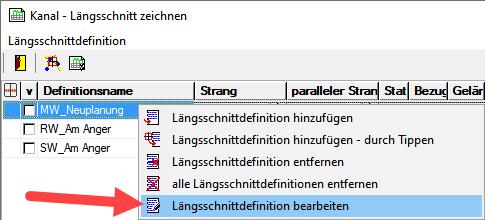 Screenshot Längsschnitt-Definition bearbeiten