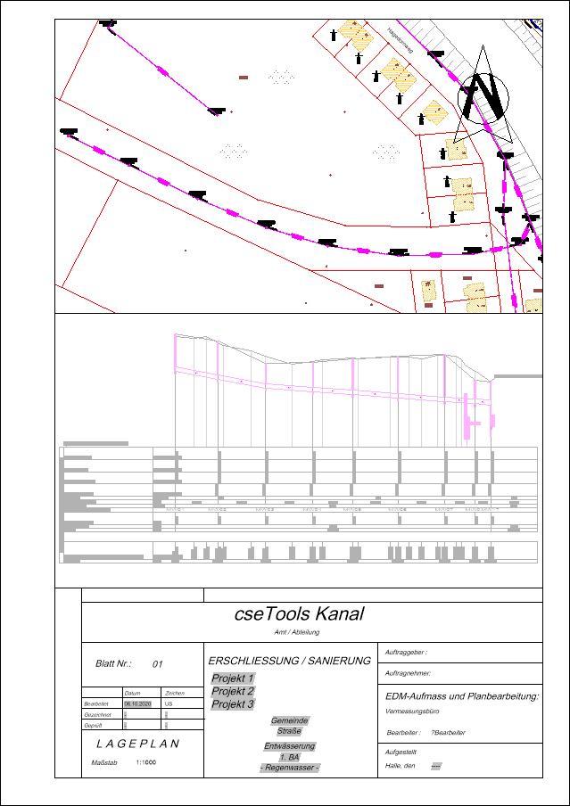Screenshot Layout mit Lageplan und Längsschnitt