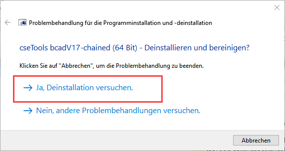 Screenshot Microsoft Problembehandlung Schritt 4