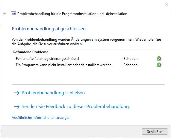 Screenshot Microsoft Problembehandlung Schritt 5