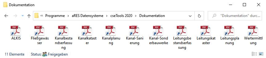 Screenshot cseTools Handbuch Verknüpfungen