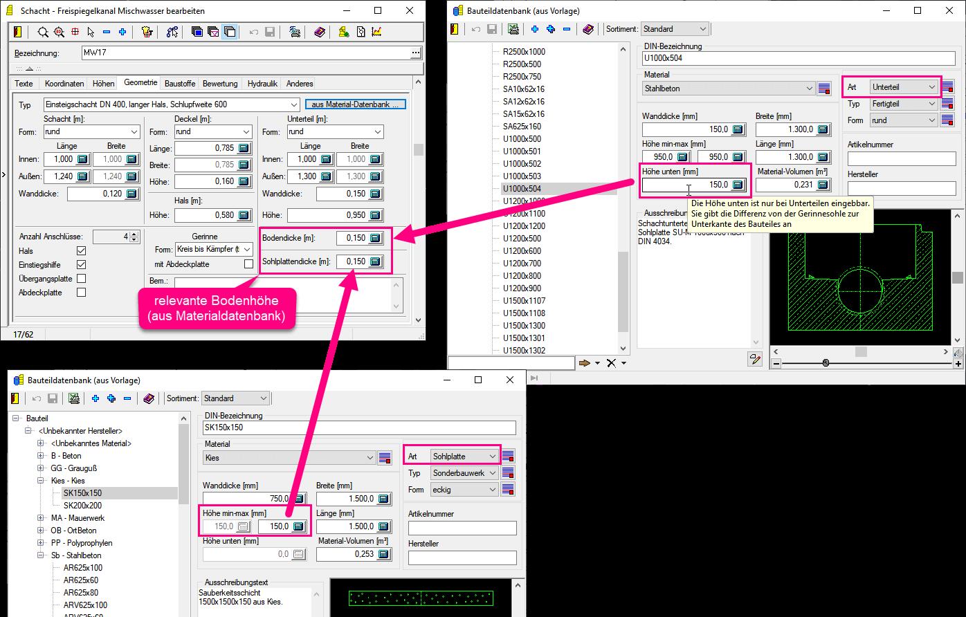 Screenshot Schachtdialog mit Geometriedaten aus Material-Datenbank