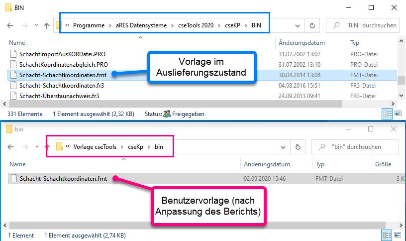 Vergleich Installations- und Vorlageverzeichnis