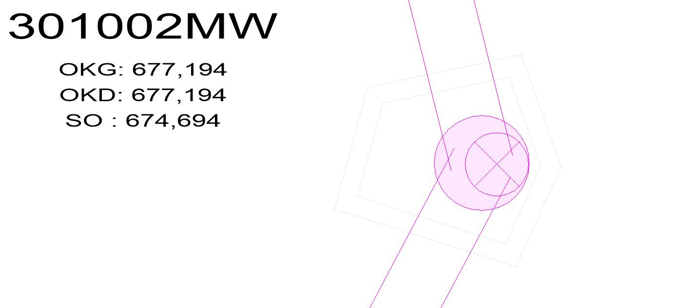 Screenshot Regulärer Schacht mit hinterlegter Bauwerksgeometrie