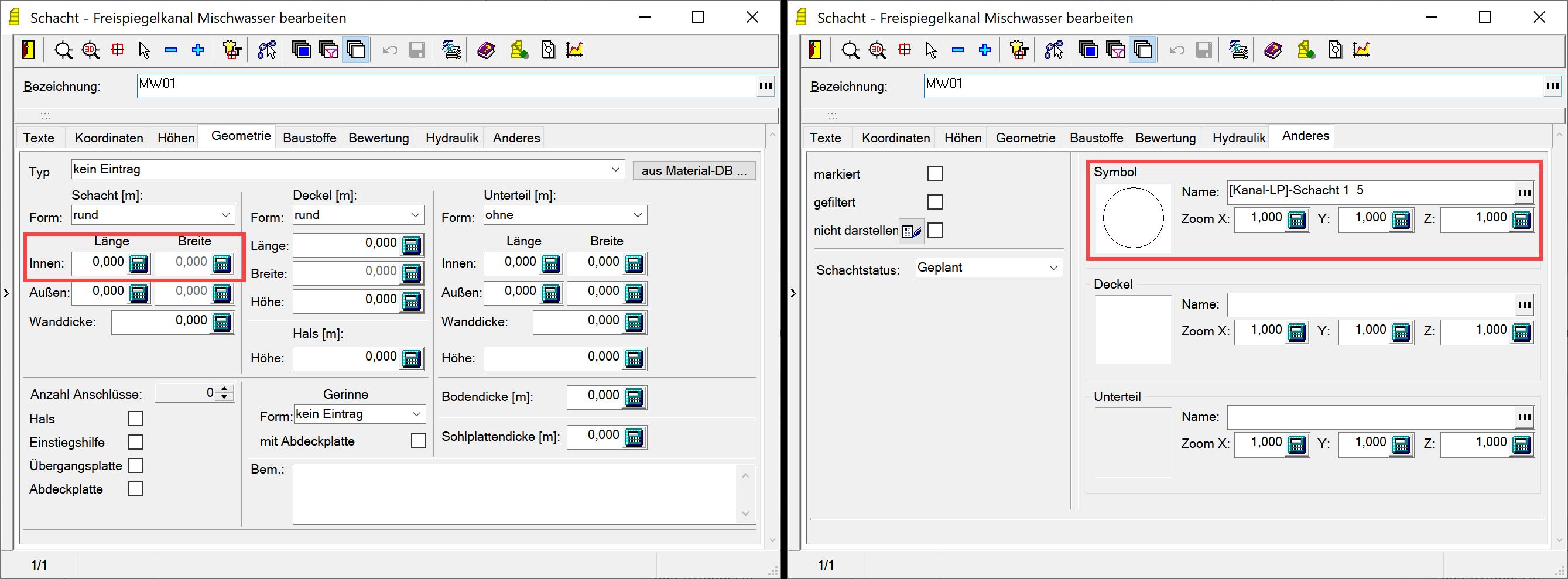 Screenshot Gegenüberstellung Geometriedaten und Zoomfaktoren