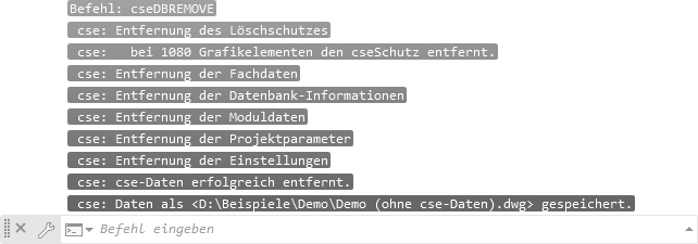Screenshot Protokoll nach löschen aller cse-Daten