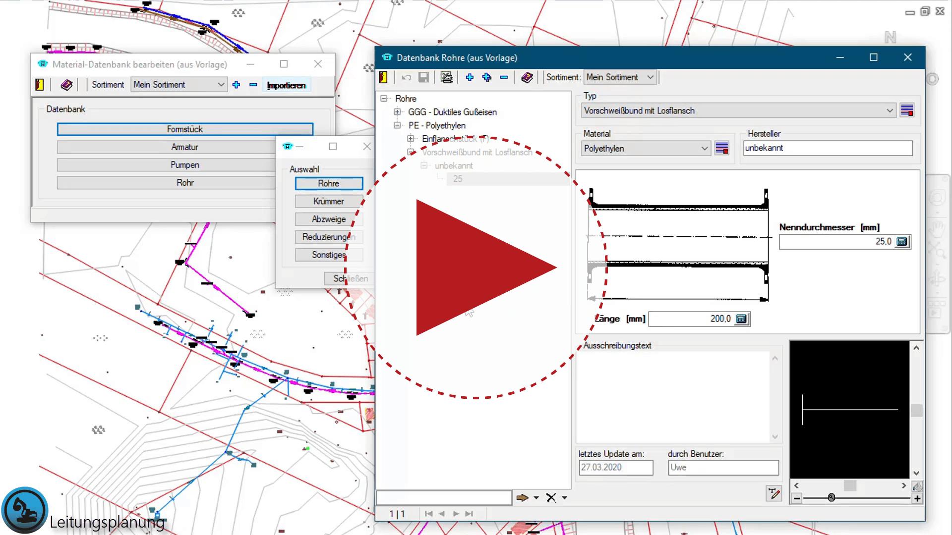 Video: Leitungsplanung, Bauteil zur Materialdatenbank hinzufügen